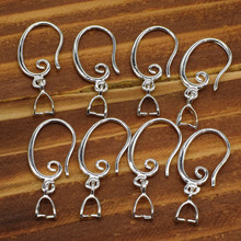 50PCS Jewelry Findings Real Pure 925 Sterling Silver Jewelry Earring Bail Pinch Smooth Hook Ear Wires For Crystal