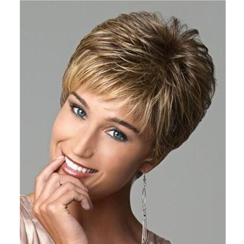 Synthetic Short Blonde Ombre Wigs for Black White Women High Heat Fiber Pelucas Sinteticas Rubias Perruque Courte Perucas<br><br>Aliexpress