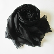 Elegant Classical Style Solid Color Chiffon Silk Scarf Black Polyester Women Wrap Cape Muslim Hijab(China)