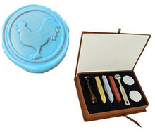 Vintage Cock Rooster Wedding Invitation Custom Picture Logo Wax Seal Sealing Stamp Sticks Spoon Gift Box Set Kit