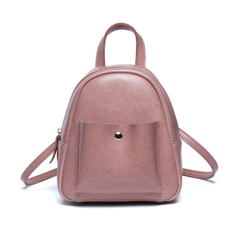 Homeda Women Backpack  Genuine Leather Mini School Backpacks Solid Softback School Students Girls Backpack Female Mochila<br>