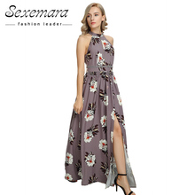 Buy Summer Floor Length Beach Tunic Printed Split Ladies Sexy Dress Women 2017 New Party Elegant Sleeveless Floral Long Sundress for $21.50 in AliExpress store