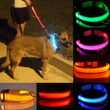 Adjustable LED Light Flashing Reflective Dog Collar Luminous Safety Nylon 8 Color XS,S,M,L,XL,Wholesales