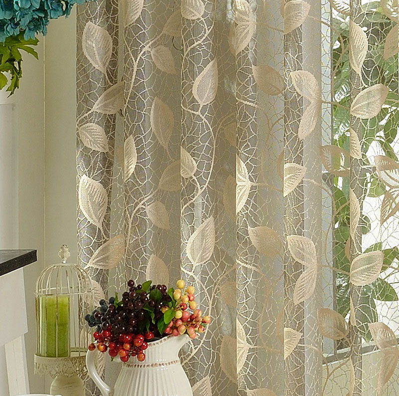 quality thickening sheer voile lace screens balcony partition yarn finished product window curtains leaves blind