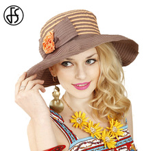 FS Elegant Big Brim Summer Hat For Women Orange Beach Flower Sun Hat Casual Travel Hats