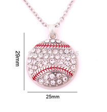 New product  10pcs zinc alloy Baseball Softball Mom Pave clear Crystal sports Pendant chain necklaces
