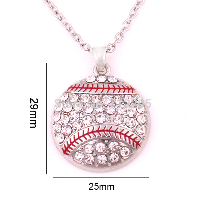 New product 10pcs zinc alloy Baseball Softball Mom Pave clear Crystal sports Pendant chain necklaces(China)