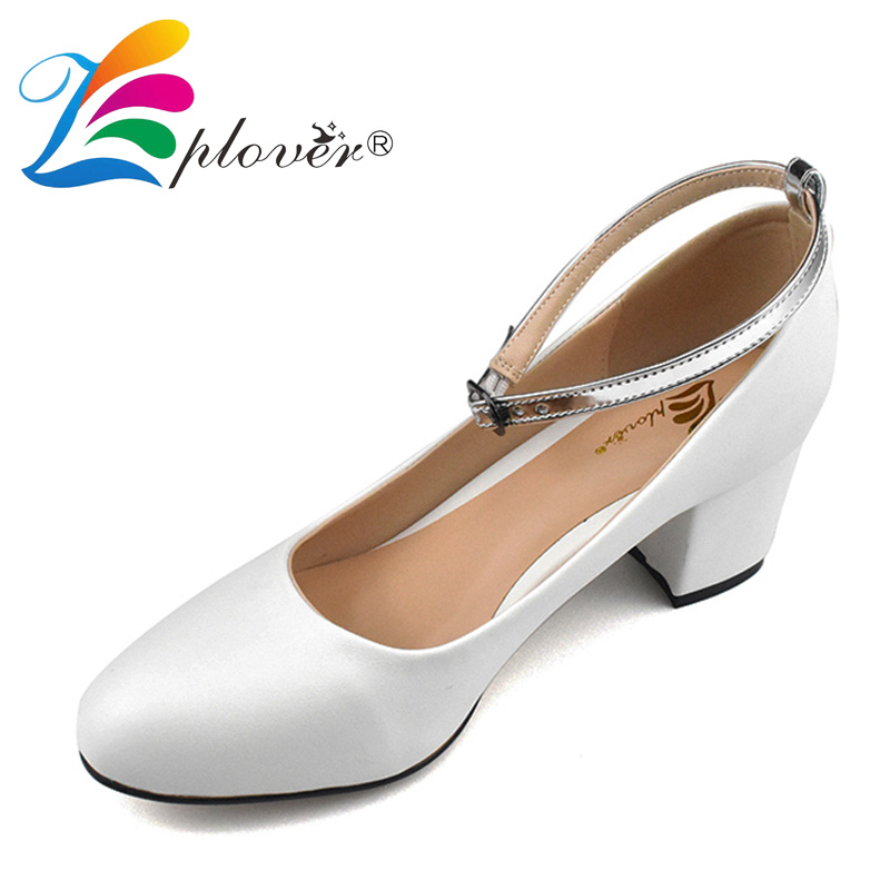 Zplover Fashion Women High Heels Pumps Sexy Thick Heels Party Shoes Woman Round Toe White High Heel Shoes <br>