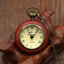 Fashion Cool Red Wooden Small Pocket Watch With Necklace Chain Free Shipping Best Gift To Women/Lady(China)