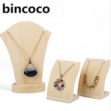bincoco wood pendants display Holder For Store Wood Jewelry Display Stand Showcase necklace Display Stand Storage pendant rack(China)