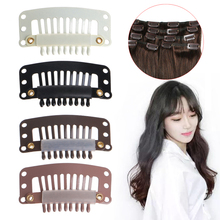 100PCS I Shape Snap Wig Hair Clips for Hairs Extension Weft Clip On Wig 32mm(China)