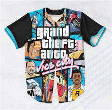 2 Colors Real USA Size Grand Theft Auto (Black White) Custom made Fashion 3D Sublimation Print Baseball Jersey Plus Size