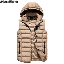 MADHERO Hat Detachable Solid Slim Vest Sleeveless Jacket Men's High Quality Simple Basic Keep Warm Hooded Waistcoat Men Autumn W(China)