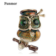 Fumor Big Green Eyes Owl Brooch Antique gold Color Animal Bird Pins Dress Clothing Accessories Collar Clip Dress Decor Female(China)