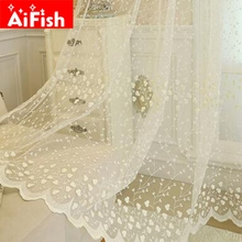 Window Treatments Screening Sheer Korean Embroidery Luxury Flowers Lace Finished Curtains For Living Room Bedroom AP208-15(China)