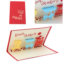 3D Train Greeting Card Pop Up Paper Cut Postcard Birthday Valentines Party Gift(China)