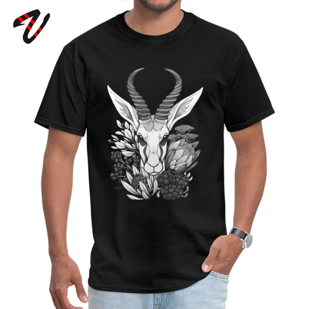 Springbok & Fynbos Tshirts 2019 New Fashion Simple Style Pure Cotton Round Neck Male Tops & Tees Tops T Shirt Thanksgiving Day Springbok & Fynbos 510 black