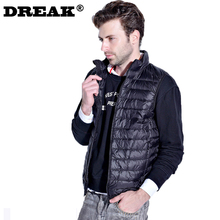 DREAK Collar short paragraph Men's lightweight down vest jacket sleeveless jacket mens waistcoats mens work vest waistcoats(China)