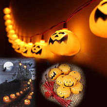 Halloween Decoration Party Prop 110/220V Pumpkin Led String Light 16 Lamp Holder Bar Fairy lights Christmas Festival Lamp(China)
