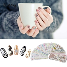 36PCS Water Decals Snowflake & Letter & Diamond Pattern Lace Series Nail Sticker Decoration Nail Wraps Manicure Tips Design