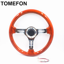 Universal 14 Inch Classic Wooden ABS Sport Steering Wheel Aluminum frame Racing Steering Wheel With Sliver Spokes