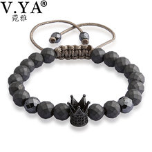 V YA Crown Bracelets for Men Women Luxury Jewelry Fashion Men's Watch Bracelet Natural Stone Bead Lace up Bangle(China)