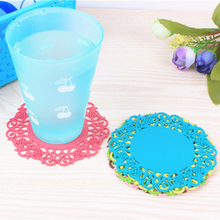 10PCS/Pack Cute Colorful Silicone Soft Rubber Coaster Cup Mat Pad for Hot Mug Glass Plate(China)