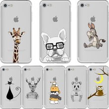 Cartoon Owl Rabbit Cat Dog Cute Animal Phone Cases Soft Sillicon Transparent Coque Cover for iphone 6 6s 7 7plus 6splus 5 5s se