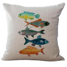 Factory Direct Supply Mediterranean Series Marine Fish Printing Linen Throw Pillow Cushion For Children Holiday Gift