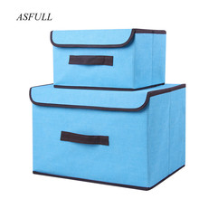 Cotton And Liene Storage Box With Cap 2 Size Clothes Socks Toy Snacks Sundries Oraganier Set organizer Cosmetics Household(China)