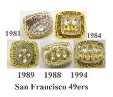 Free Shipping A set 1981 1984 1988 19891994 San Francisco 49ers Super Bowl Championship Champions Ring 5PCS solid for fans(China)