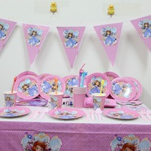 132pc\lot Sofia Princess Birthday Party Tablecloth Baby Shower Dishes Kids Favors Decoration Paper Plates Cups Pennants Supplies
