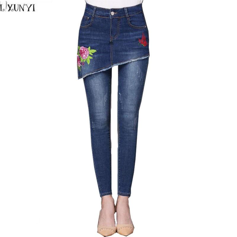 LXUNYI Autumn 2017 Pencil jeans Skinny Women Culottes Pants Fake Two Piece Woman jeans With Embroidery Plus Size Denim TrousersÎäåæäà è àêñåññóàðû<br><br>