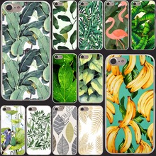 Hard Clear Back Cover Transparent Case for iPhone 7 7 Plus 5 5s 5g 222R- banana leaf pattern Tropical Banana Leaf Pattern