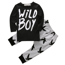 Kids Newborn Baby Boys Clothes Long Sleeve T-Shirts Tops+Pants 2pcs Outfits Set baby boy clothing set baby clothes china(China)