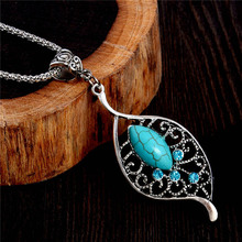 SHUANGR 2017 Brand New Silver Color Leaf Resin Stone Pendant Chain Link Necklace Women's Fashion Jewelry Accessory(China)