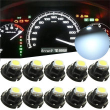 10PCS White 5050 T5 Wedge 1 LED Cluster Instrument Dash Gauges Lights Auto Dashboard Instrument Light 12mm