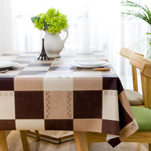 PVC tablecloth oil proof waterproof cloth printed cloth wholesale leather European geometric lattice(China)