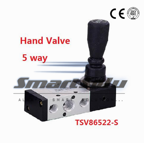 Free shipping 5 way 2 position Pneumatic air hand control valve TSV86522-S Port 1/4 BSP Manual valve spring loaded return<br><br>Aliexpress