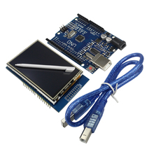 2.8 Inch TFT LCD Touch Screen Display Module + Uno R3 Development Board +USB Cable for arduino Compatible with UNO R3(China)