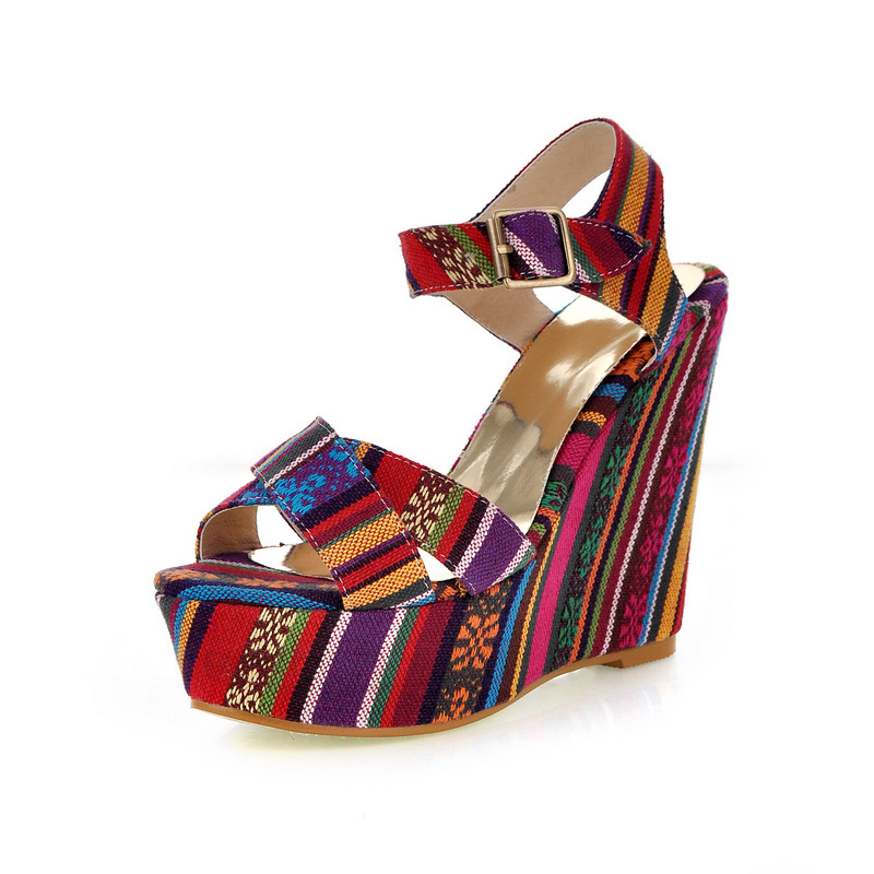 MAVIRS 2017 Summer Fashion Brand New Ethnic Striped Platform Wedges High Heels Sandals Women Casual Shoes Ladies Shoes Green Red<br>