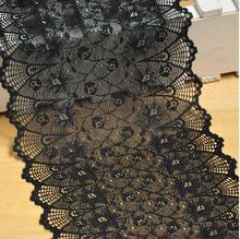 5 Meters/lot Beautiful Black Lace Trim Stretch Floral Lingerie Headband 17.5cm Width Elastic DIY Lace Fabric(China)