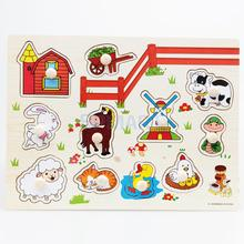 Wooden Farm Animal Shaped Peg Puzzle Baby Toldder Preschool Kids Toy