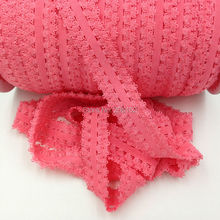 "Coral Pink 7/8"" Frilly Edges Elastic Lace Ribbon Picot Lace Webbing for DIY Hairband Headwear 100Y/Lot 13Colors Available(China)"