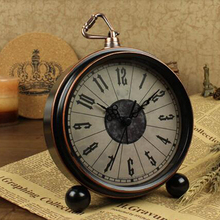 Vintage 3D Metal Double Bell Quartz Clock No ticking Bedroom Office Bedside Clock Desk Table Watch Classic 4.3 Inch Alarm Clock()
