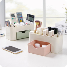 New European transparent plastic makeup organizer storage box multipurpose candy color office sundries cosmetic drawer container(China)