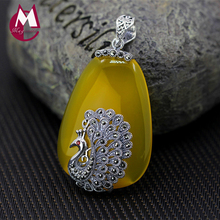 Luxury Yellow Chalcedony Peacock Pendant 100% 925 Sterling Silver Necklace Jade Pendant Ethnic Gemstone Silver 925 Jewelry SP22(China)
