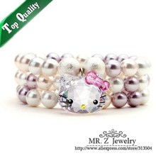 Quality Goods Elasticity Mother Pearl Bead Bracelet (One Row - Three Row) Cute Hello Kitty Jewelry Free Shipping