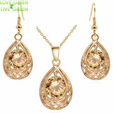 Vintage queen Bride  gold color Zircon Rhinestones water drop Pendant Necklace Earrings indian jewelry sets for women 80025