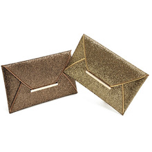 Excellent Quality Women Evening Party Bags Gold Sequins Envelope Purse Clutch Handbags Envelope Pattern Shiny Solid Ultrathin